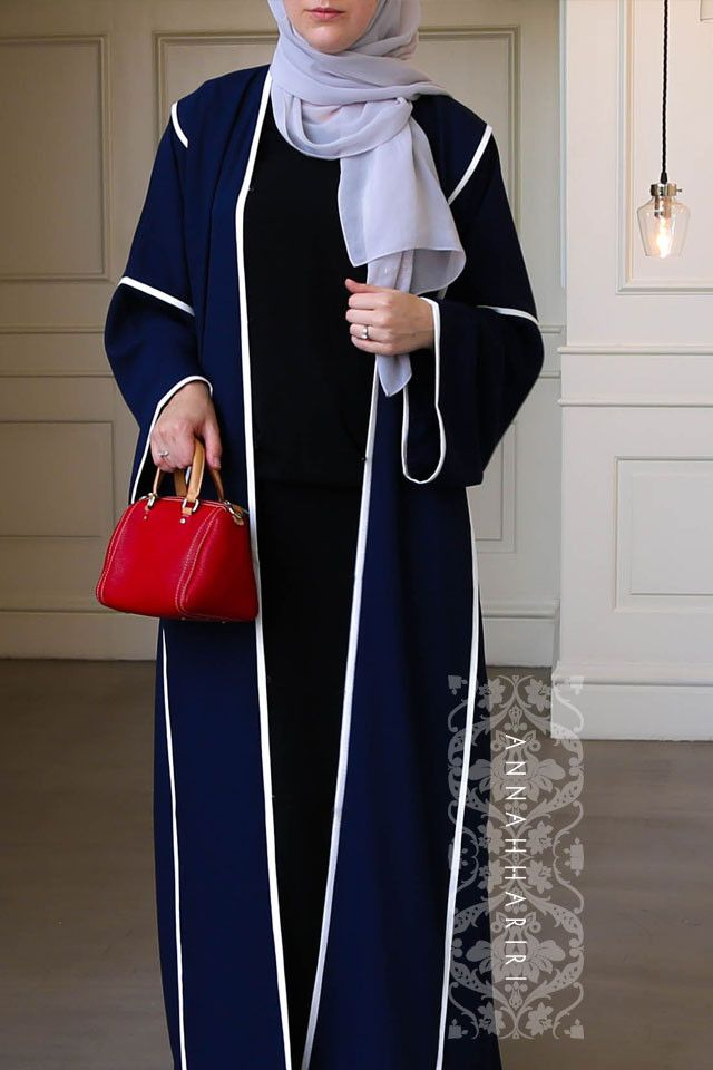 Sport dark blue abaya by ANNAH HARIRI - usa abaya online