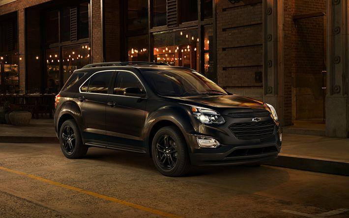 Download wallpapers Chevrolet Equinox, 2017, black Equinox, SUV, evening streets, American cars, black wheels, Chevrolet