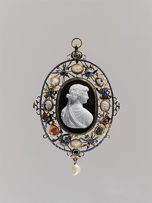 A Marlborough Gem: Bust of a woman in profile, her back to the spectator  Date: 19th century  Culture: Italian or British  Medium: Onyx, glued to a dark brown sardonyx(?) ground, mounted in gold for display, with enamel, smaller cameos, and a pearl.  Dimensions: Overall: 5 3/8 x 3 5/8 in. (13.7 x 9.1 cm); central cameo, visible (confirmed): 55.8 x 38.5 mm  Classification: Metalwork Credit Line: Gift of J. Pierpont Morgan, 1917  Accession Number: 17.190.867  Metropolitan Museum of Art