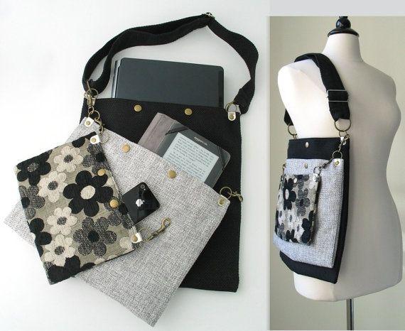 Totalizador negro gris floral, mensajero, bolso del ordenador portátil, bolso, monedero