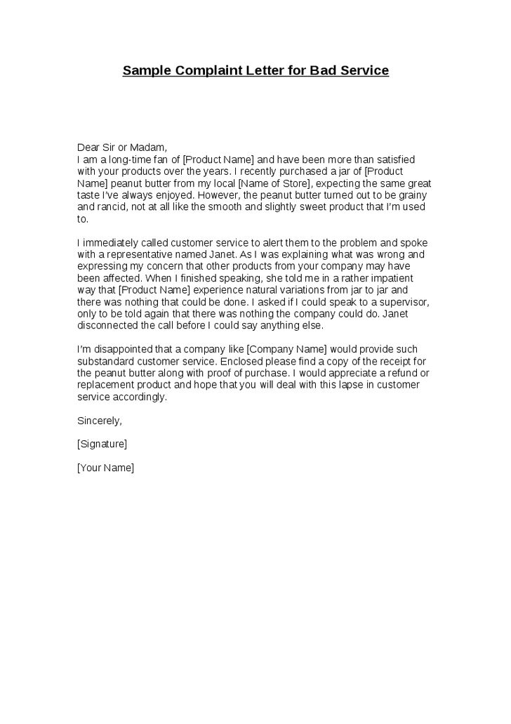 Complaint Letter Example For Bad Service  Cover Letter Sample