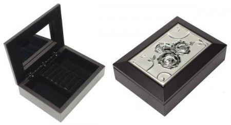 Ékszertartó doboz, ékszerdoboz fém rózsás díszítéssel