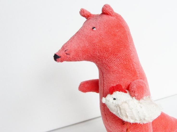 Fox with chicken stuffed toy, pink koral plush toy fox