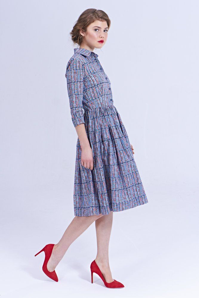 """Mrs Pomeranz """"Sybil"""" dress is made of beautiful Liberty of London fabric called """"Progeny"""". The print was inspired by the many different..."""
