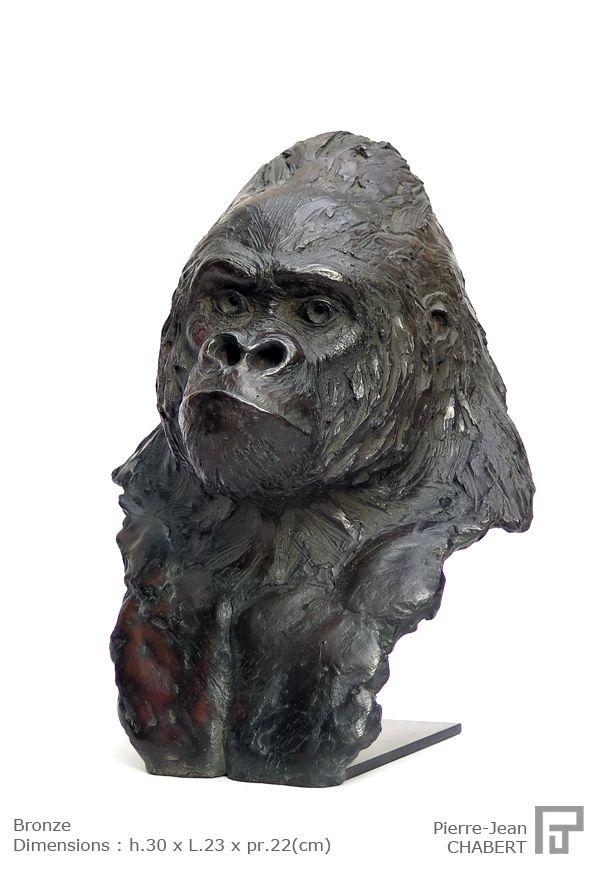 """""""Tête de gorille"""" by PJ CHABERT  sculpture bronze gorille 30x23x22 (cm)  http://www.pjchabert-sculpture.com/sculptures/"""