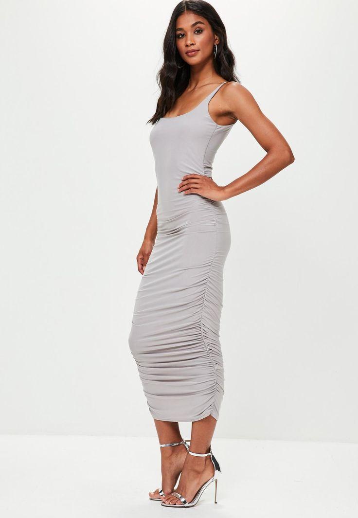 Missguided - Grey Slinky Gathered Side Midi Dress