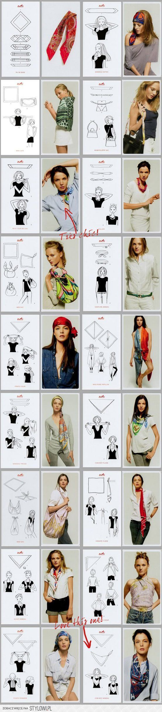Creative ways how to style and wear a scarf/  Dažādi radoši veidi, kā nēsāt šalli