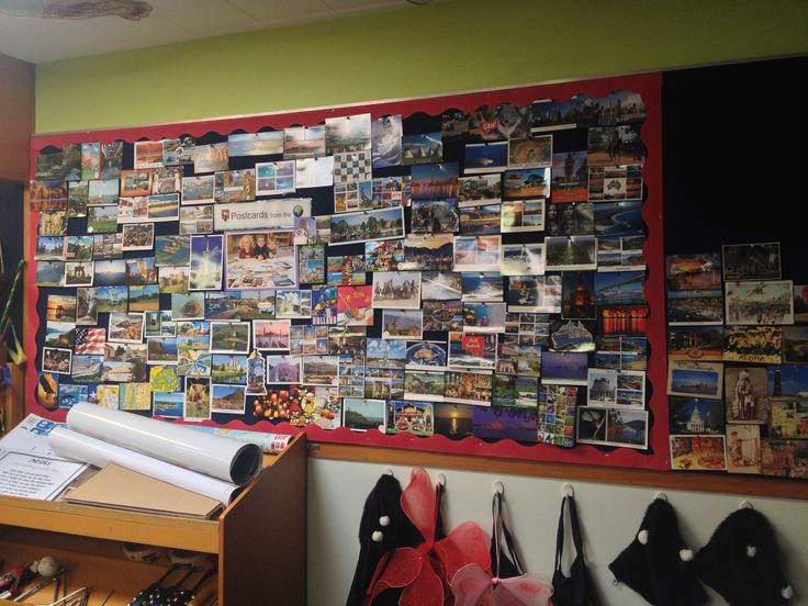 A wall of postcards! Our interest in mail and the world resulted in over 500 postcards being sent from all over the globe!