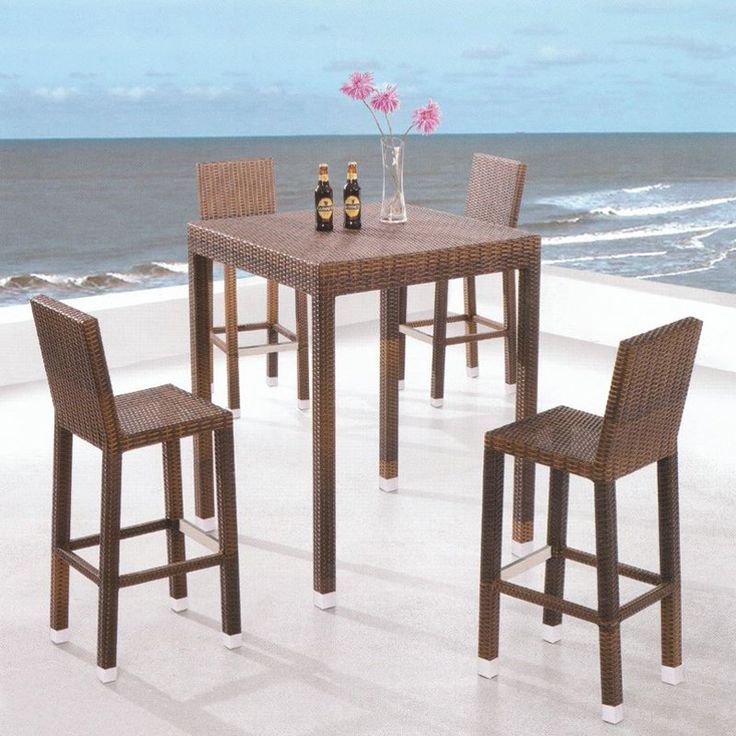 Have to have it. Royal Garden All-Weather Wicker 5 pc. Bar Height Patio Set - Brown - $699.99 @hayneedle