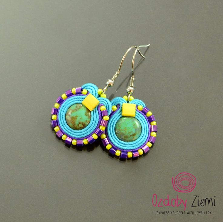 Colorful small soutache earrings, turquoise cute earrings, purple little dangle earrings, yellow boho earrings fresh juicy colorful earrings by OzdobyZiemi on Etsy
