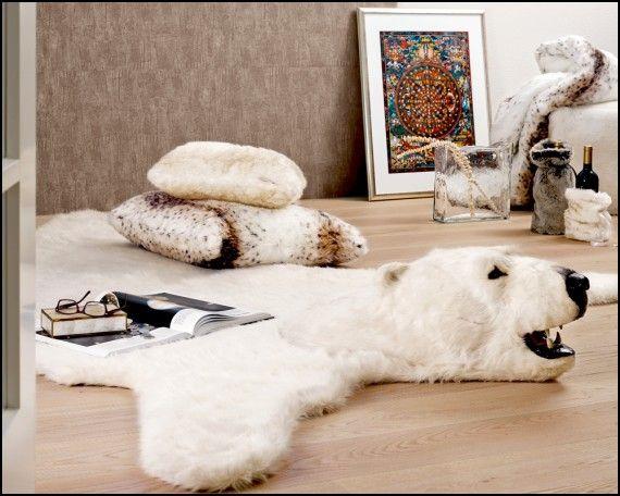Faux Polar Bear Rug With Head