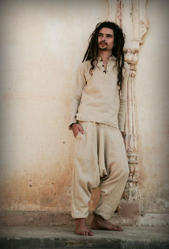 Natural cotton Afghani pants ~ Unisex + Short Kurta ~ raw cotton >>~•》Outfit (OS2)