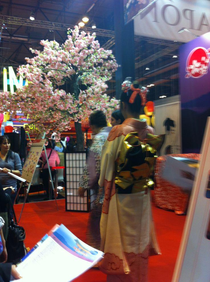 Japanese women wearing kimonos