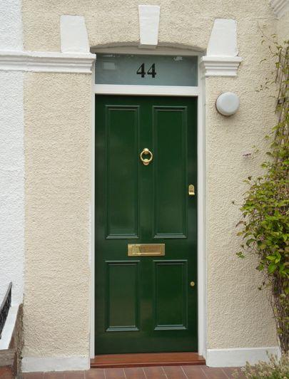 Front door in British racing green