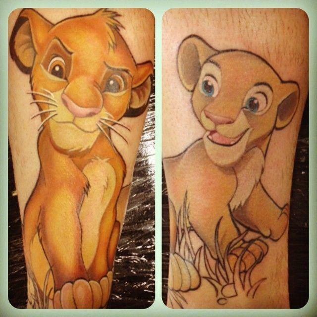 simba & nala from lion king. Disney tattoos by Ally Riley Dangerzone Tattoo