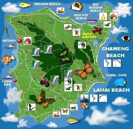 Carte de l'île de Koh Samui, Thaïlande !
