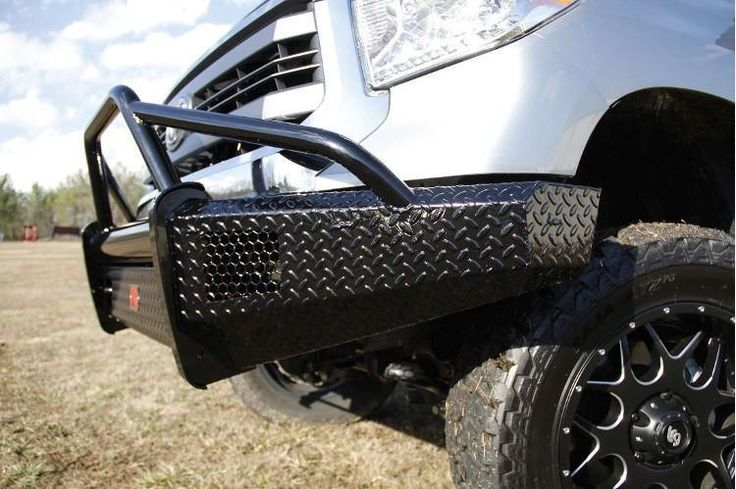 Fab Fours TT07-K1862-1 Toyota Tundra Front Bumper 2007-2013 Pre-Runner Guard with Tow Hooks Black Steel On sale at BumperOnly.com, Free  & Price Guarantee