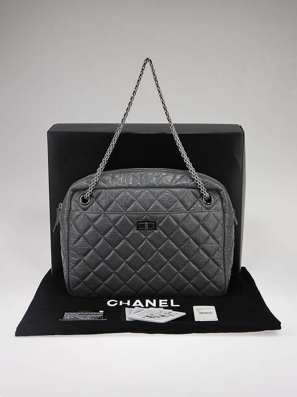 Chanel Grey Quilted Leather Large Reissue Camera Case Bag ...