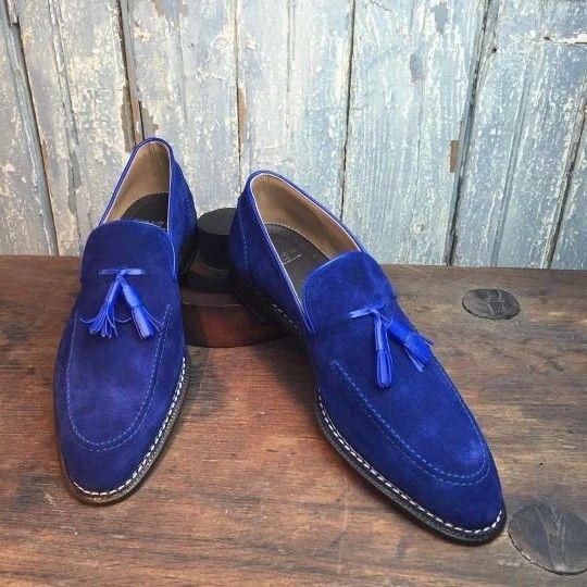 Men royal blue Tassels moccasins, Men slip ons loafer suede shoes, Men shoes #Handmade #LoafersSlipOns #Formal