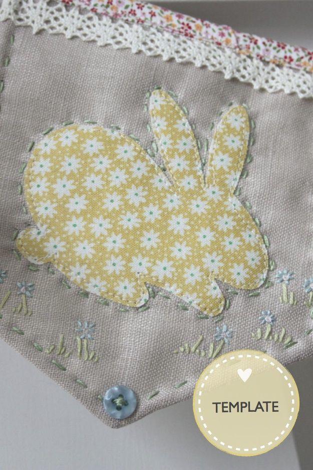 Easter Bunnies Applique Template