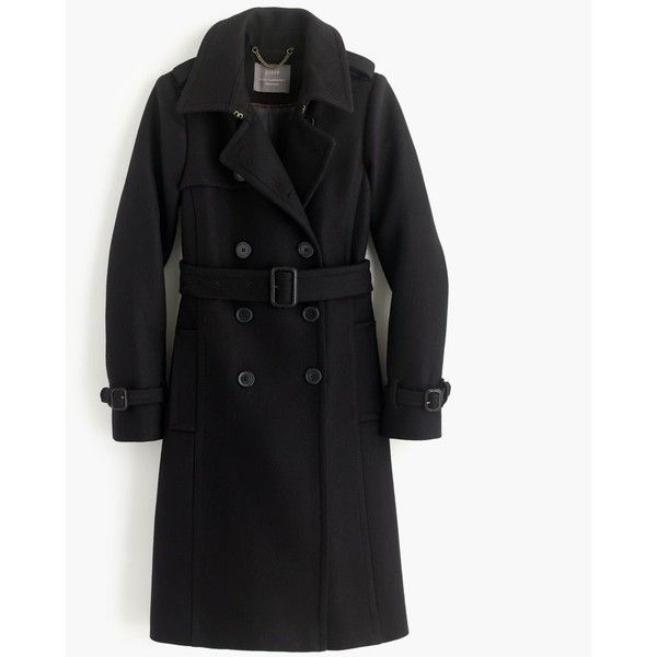 J.Crew Icon Trench Coat ($345) ❤ liked on Polyvore featuring outerwear, coats, evening coat, leather-sleeve coats, lined trench coat, trench coats and fur-lined coats