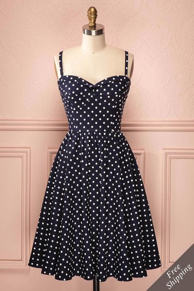 Peggy - Retro-cut navy blue dress with white polkadot pattern