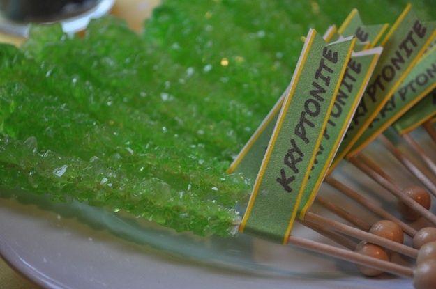 Rock candy makes awesome/non-lifeforce-sucking kryptonite. | How To Throw The Most Awesome Superhero Party Ever