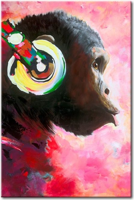 Cuadro moderno Monkey Music es un cuadro elmás elegido por los adolescentes o jóvenes. Divertido y de moda ♫♪♫