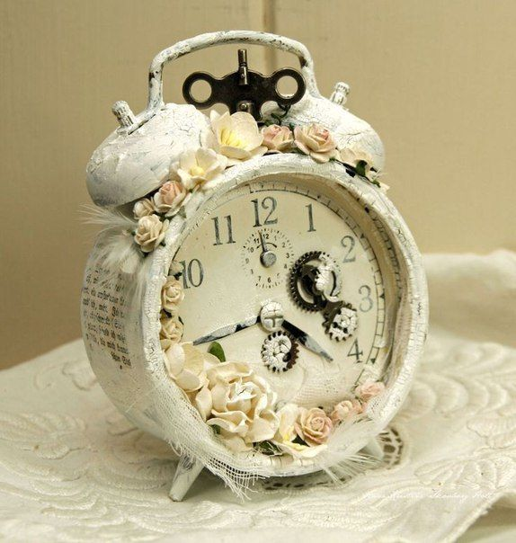 """Vintage alarms in the style of """"Shebbi-chic""""."""