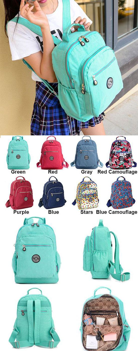 Which color do you like? Sweet Large Capacity Waterproof School Zipper Colorful Canvas Travel Backpacks #backpack #canvas #travel #large #waterproof #school #bag