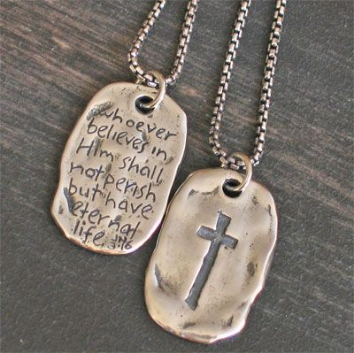 'Saved' - John 3:16 Sterling Silver Tag.   Whoever believes in Him shall not perish but have eternal life.   #christiangifts
