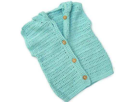 Baby Hoodie Sweater - Turquoise Sleeveless Vest Cardigan, Blue or Green - Handmade by Amanda Jane in Ireland