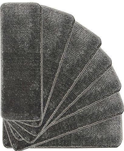 Best Ottomanson Softy Stair Treads Solid Dark Grey Skid Resist 400 x 300