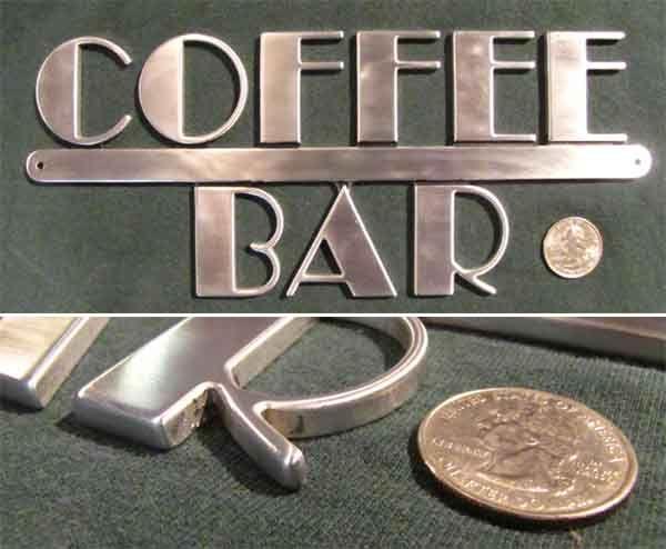 Deco+punk   Art Deco Machine Age Steampunk Metal Coffee Bar Sign   eBay