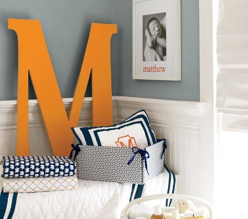 Harper Painted Letters | Pottery Barn Kids, love orange and navy