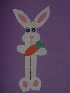 Cute bunny using craft sticks...there is also a chick there...