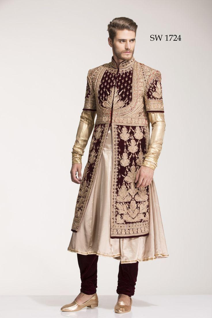 Diwan Saheb Beige Silk Embroidered Anarkali Sherwani
