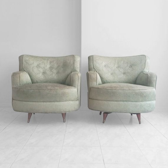 2 mid century modern OVERSIZE swivel club chairs by