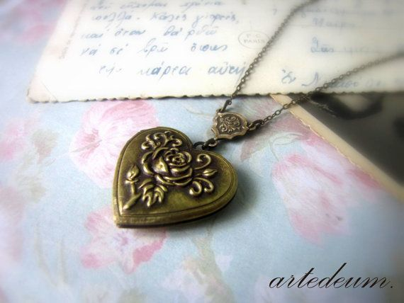 Heart Locket Necklace Personalized Bridesmaids gift by WhiteTeapot, $28.00