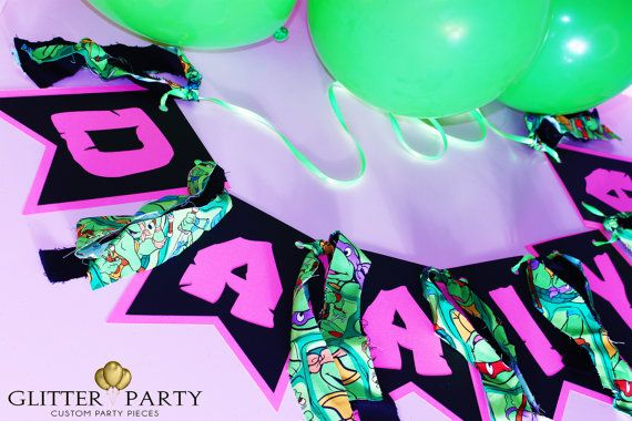 Custom Pink And Black Teenage Mutant Ninja Turtle Party Banner by TheGlitterParty