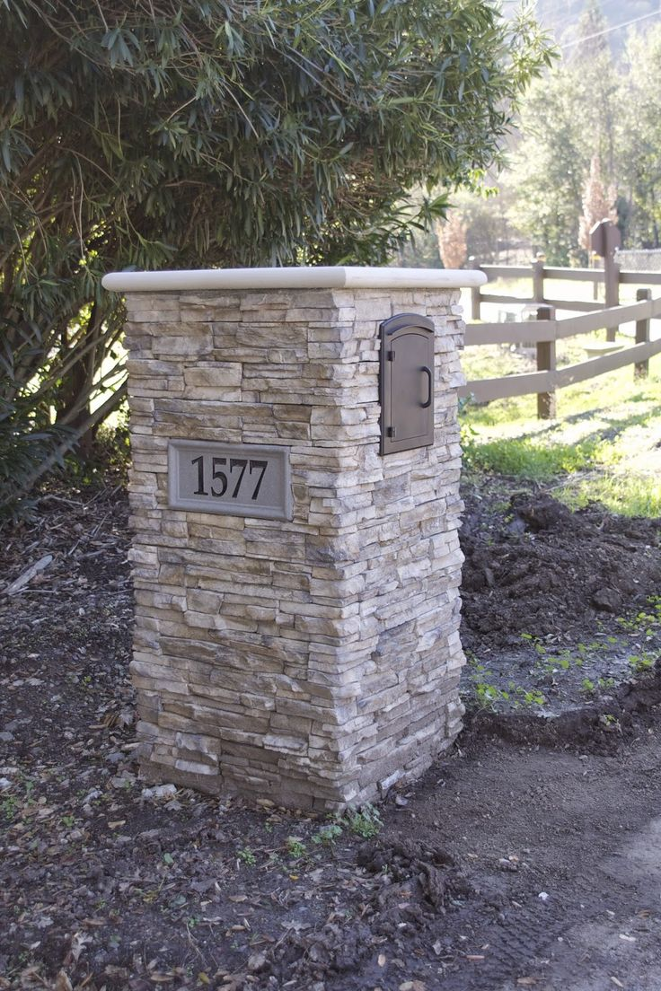 Mailbox with stacked stone