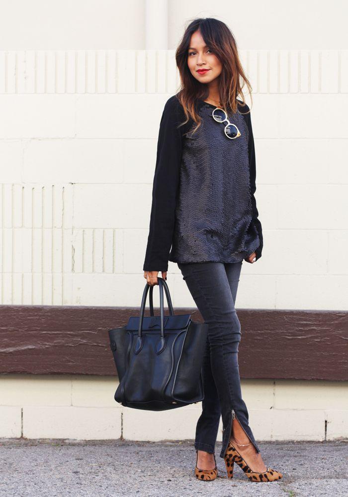 Jeans: Anine Bing  |  Sweater: Mango  |  Heels: Madewell  |  Shades: Asos  |  Bag: Celine  |   Necklaces: Jennifer Zeuner 1, 2