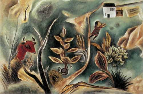 国吉康雄はやはりアメリカの画家であったということがいえるだろう。この「夢」でも、モティーフをパッチワークのように並べる児童画のような描き方にもかかわらず、油絵具をカンヴァスに馴染ませるテクニックは日本の油彩画家とは明らかな違いがある。明治に入って膠から油を使う絵画に転向した日本の画家たちの作品が、完成後次第に艶やかさや伸びやかさを失っていくのに比べ、400年以上の油彩画の歴史を持つヨーロッパやアメリカの画家たちは油絵具の美しさを保ち自在に扱う手技を身体で憶えてしまっている。多くのアメリカ人が国吉の作品に東洋的な要素を見い出していたのと反対に、我々は日本人にはなかなか持ちえなかった欧米の美術の末裔の姿をアメリカで美術教育を受けた国吉に感じとってしまうのである。生涯を通じて2つの祖国の間で揺れ続けた国吉だが、画家としては明白にアメリカ人であったことを、32才の時に発表されたこの作品で確認することができるのである。(石橋財団ブリヂストン美術館 学芸員 貝塚健)