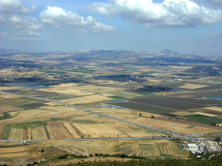 The currently peaceful Valley of Armageddon as seen from Mount Carmel