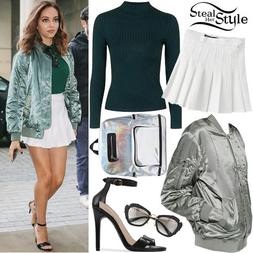 Jade Thirlwall arrived with her bandmates at the BBC Radio 1 studios in London wearing an ASOS Luxe Bomber Jacket In Satin ($72.55), a Topshop Wide Rib Roll Neck Top ($28.00 – wrong color), an American Apparel Tennis Skirt ($54.00), Miu Miu Noir Jeweled Cat Eye Sunglasses ($500.00), a Skinnydip Holographic Backpack (Sold Out) and Public Desire Wren Barely There Sandals ($41.99).