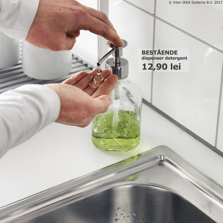 De cât detergent ai nevoie atunci când speli vasele? Dacă nu te poți decide, dispenserul BESTÅENDE te poate ajuta :).