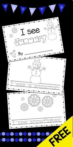 FREE January emergent reader - little booklets your kinder or pre-k students can make to practice CAP - perfect for a winter literacy center