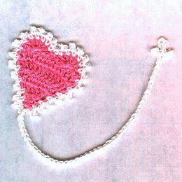 Free Crochet Heart Bookmark Pattern.