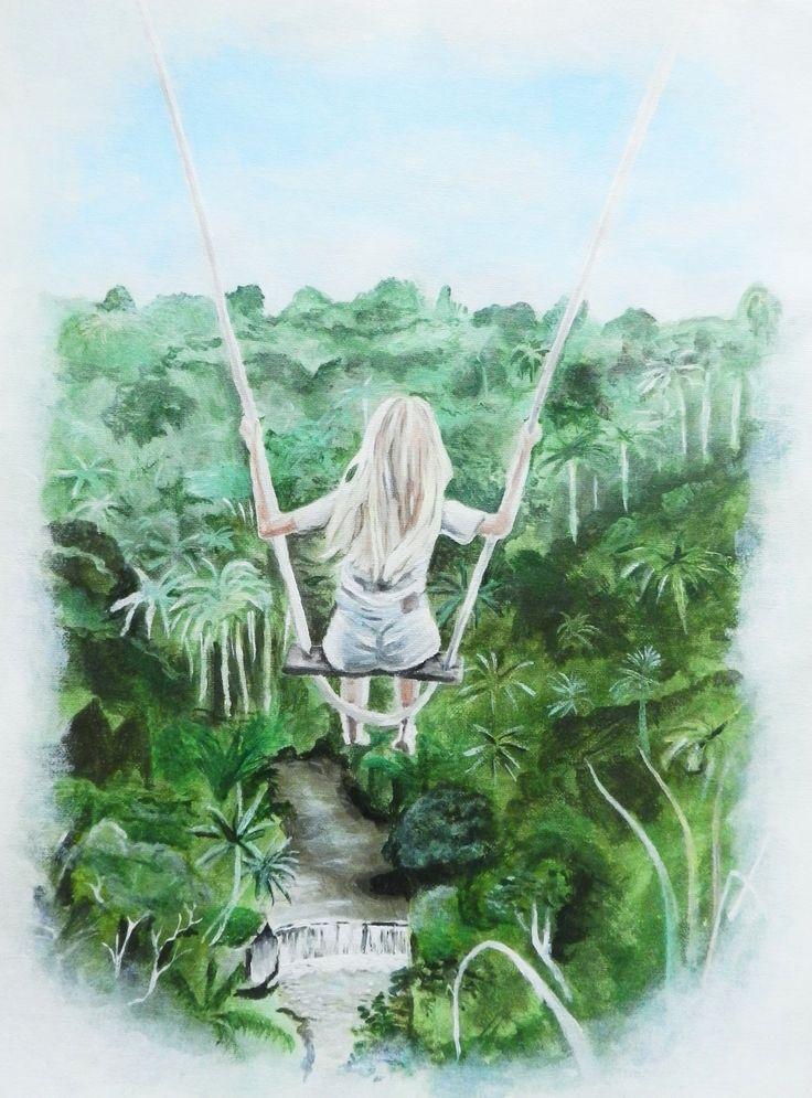 ACRYL BILD ORIGINAL   Mädchen auf Schaukel, Girl on swing, Acrylfarbe auf Maltuch, 36 x 48 cm - by Josephine Doege