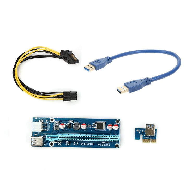 PCIe PCI-E PCI Express Riser Card 1x to 16x USB 3.0 Data Cable SATA to 6Pin IDE Molex Power Supply for BTC Miner Machine 30cm